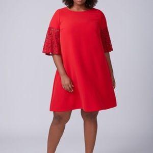 Nwt lane Bryant lace sleeve swing dress